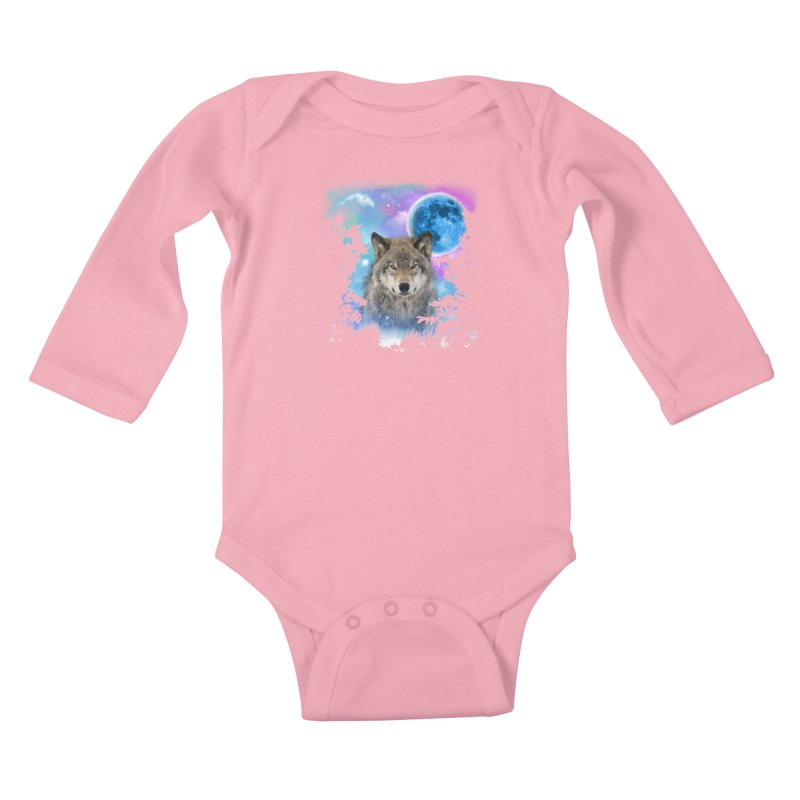 Timber Wolf MidNight Forest Kids Baby Longsleeve Bodysuit by ratherkool's Artist Shop