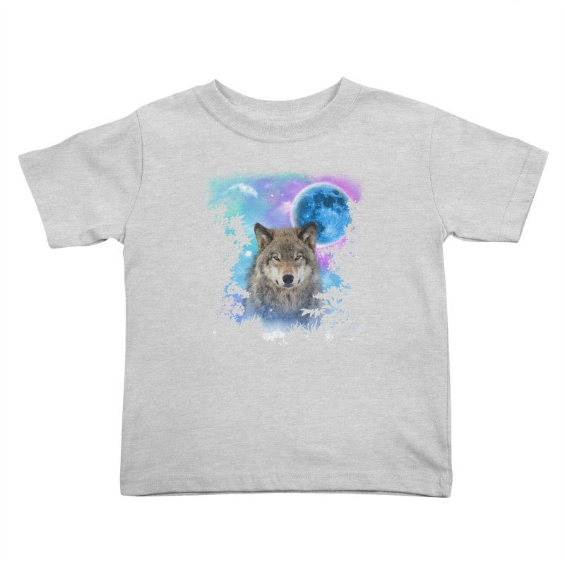 Timber Wolf MidNight Forest Kids Toddler T-Shirt by ratherkool's Artist Shop