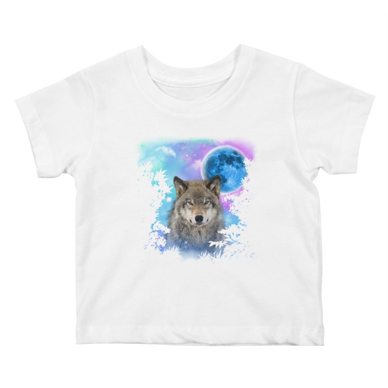 Timber Wolf MidNight Forest Kids Baby T-Shirt by ratherkool's Artist Shop