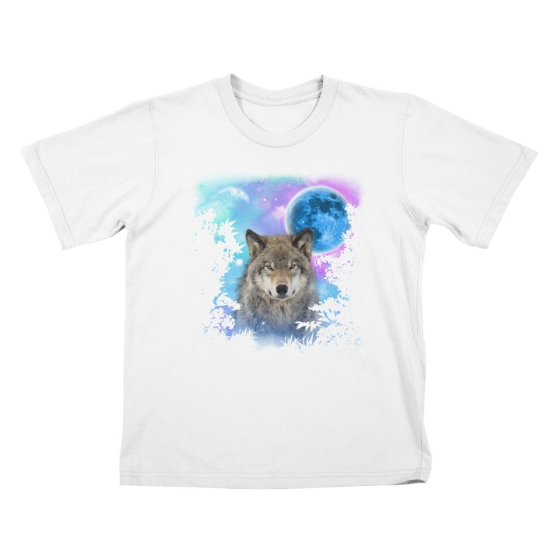 Timber Wolf MidNight Forest Kids T-shirt by ratherkool's Artist Shop