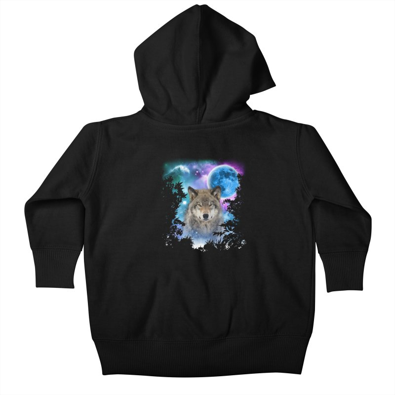 Timber Wolf MidNight Forest Kids Baby Zip-Up Hoody by ratherkool's Artist Shop