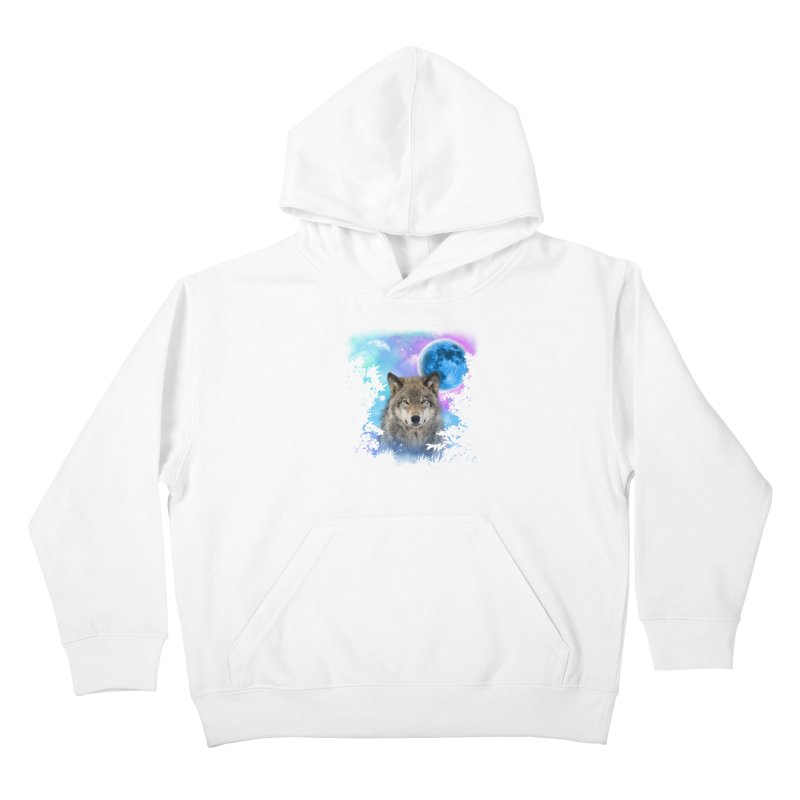 Timber Wolf MidNight Forest Kids Pullover Hoody by ratherkool's Artist Shop