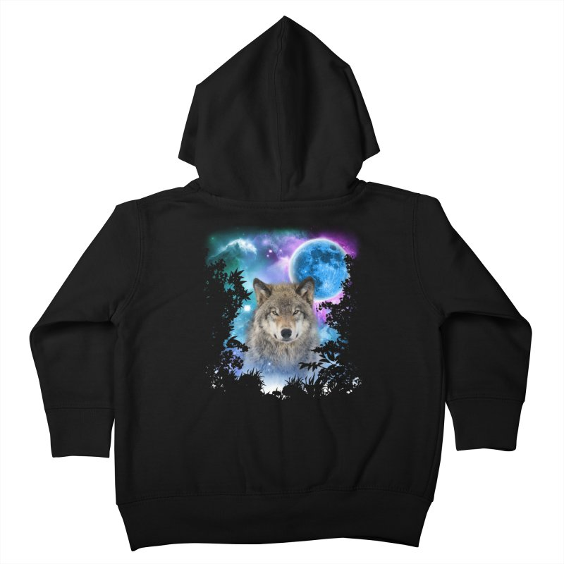 Timber Wolf MidNight Forest Kids Toddler Zip-Up Hoody by ratherkool's Artist Shop