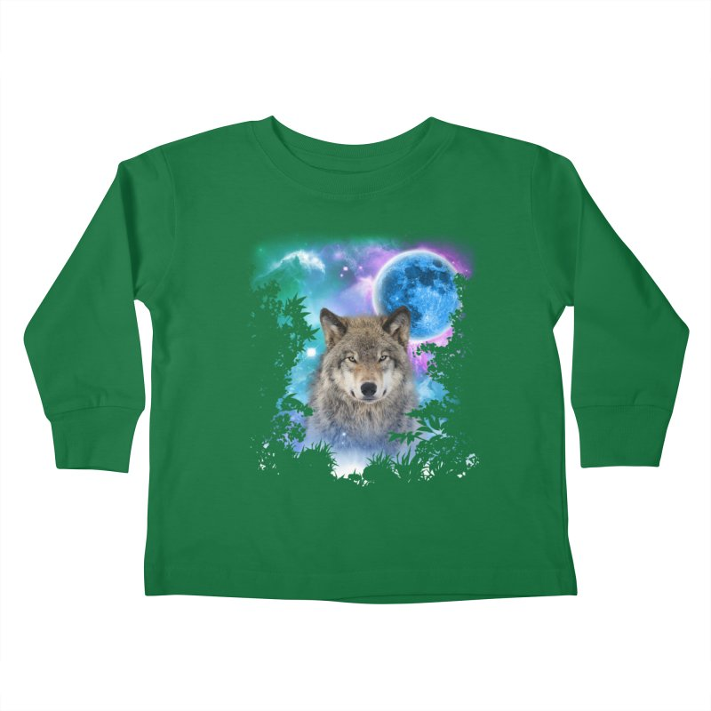 Timber Wolf MidNight Forest Kids Toddler Longsleeve T-Shirt by ratherkool's Artist Shop