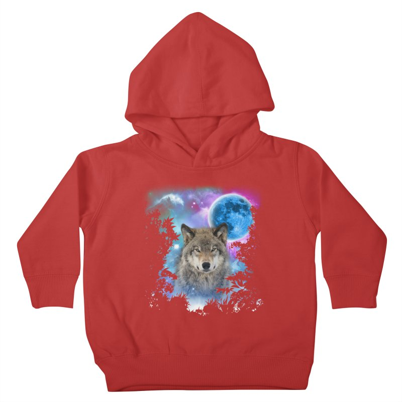 Timber Wolf MidNight Forest Kids Toddler Pullover Hoody by ratherkool's Artist Shop