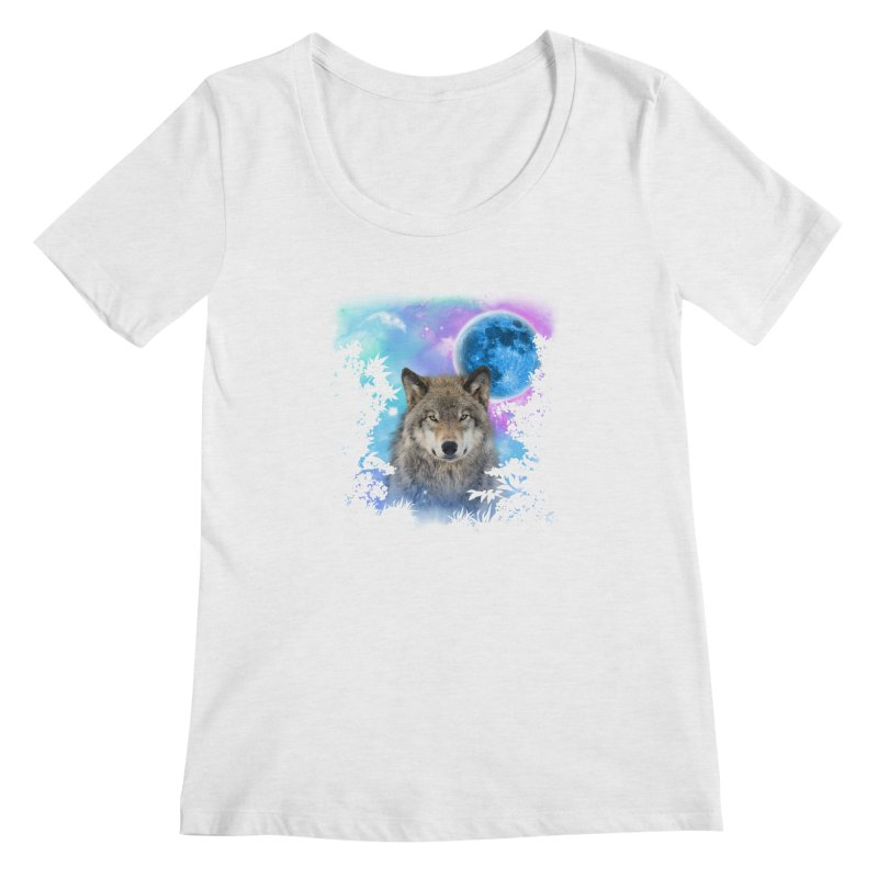 Timber Wolf MidNight Forest Women's Scoopneck by ratherkool's Artist Shop