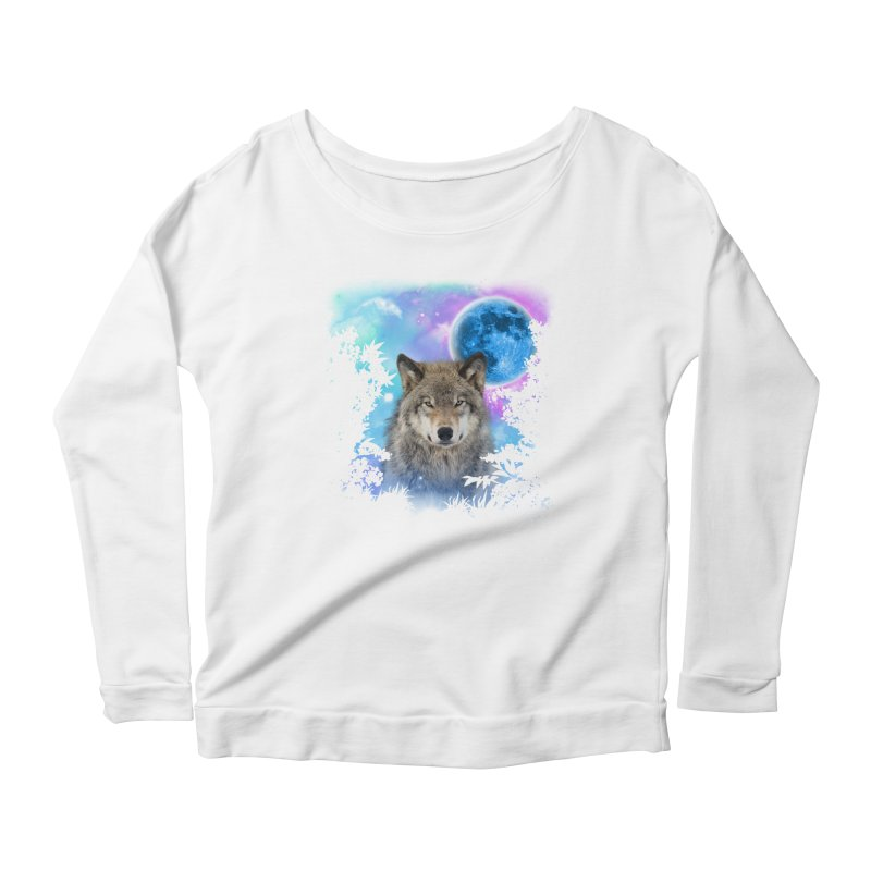 Timber Wolf MidNight Forest Women's Longsleeve Scoopneck  by ratherkool's Artist Shop