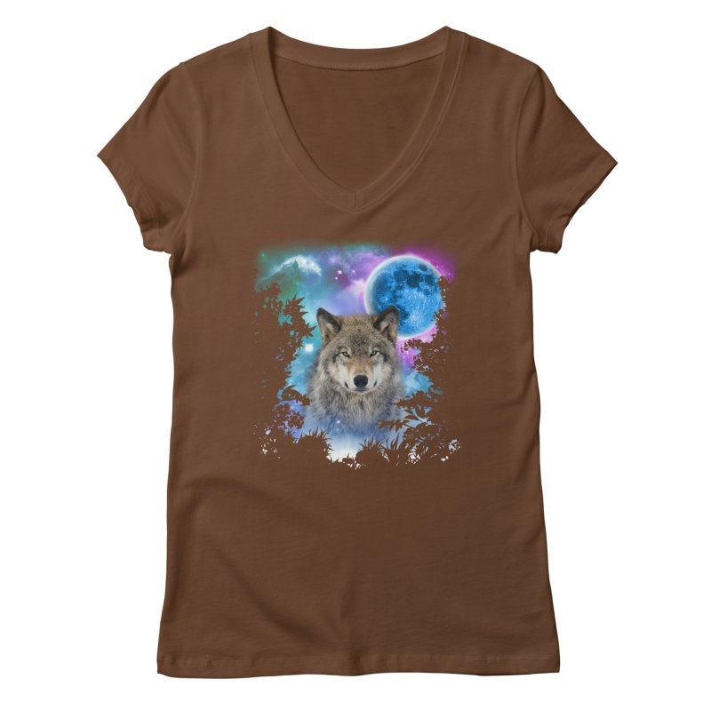 Timber Wolf MidNight Forest Women's V-Neck by ratherkool's Artist Shop