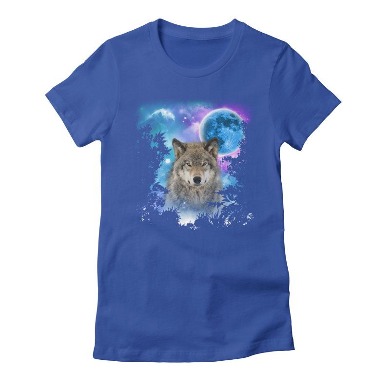 Timber Wolf MidNight Forest Women's Fitted T-Shirt by ratherkool's Artist Shop