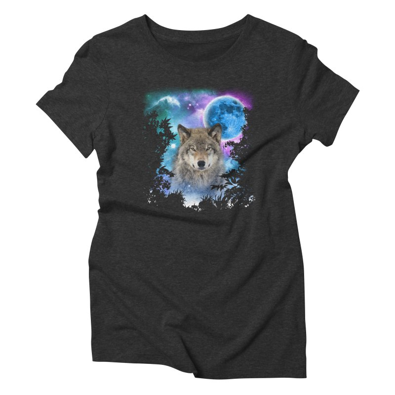 Timber Wolf MidNight Forest Women's Triblend T-shirt by ratherkool's Artist Shop