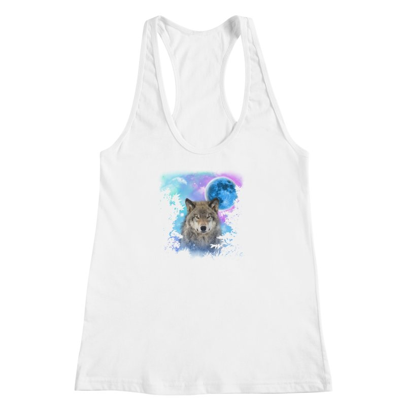 Timber Wolf MidNight Forest Women's Racerback Tank by ratherkool's Artist Shop