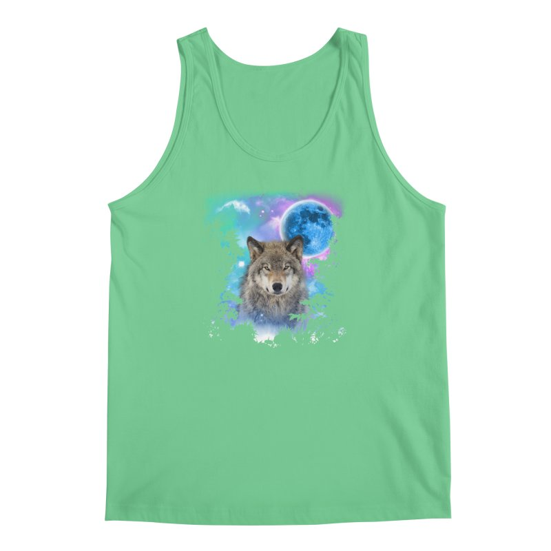 Timber Wolf MidNight Forest Men's Tank by ratherkool's Artist Shop