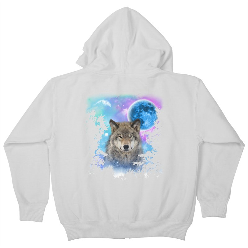 Timber Wolf MidNight Forest Kids Zip-Up Hoody by ratherkool's Artist Shop