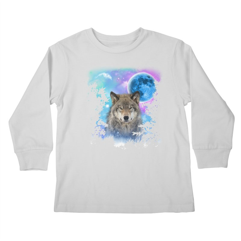 Timber Wolf MidNight Forest Kids Longsleeve T-Shirt by ratherkool's Artist Shop