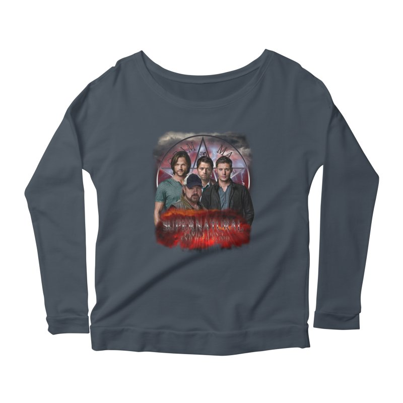 Supernatural Family dont end with blood 4C9 Women's Longsleeve Scoopneck  by ratherkool's Artist Shop