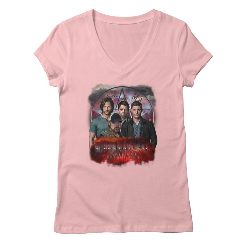 Supernatural Family dont end with blood 4C9 Women's V-Neck by ratherkool's Artist Shop