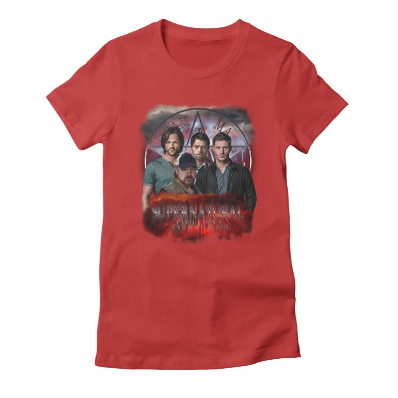 Supernatural Family dont end with blood 4C9 Women's Fitted T-Shirt by ratherkool's Artist Shop