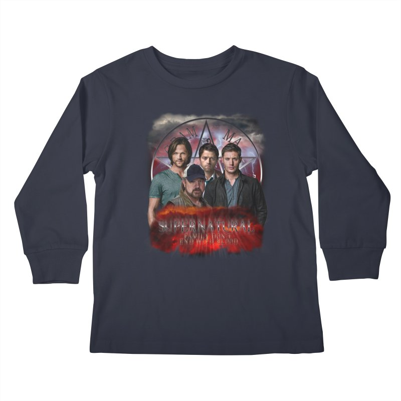 Supernatural Family dont end with blood 4C9 Kids Longsleeve T-Shirt by ratherkool's Artist Shop