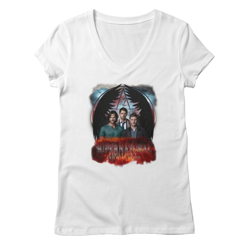 Supernatural Family Dont end with blood C9 Women's V-Neck by ratherkool's Artist Shop