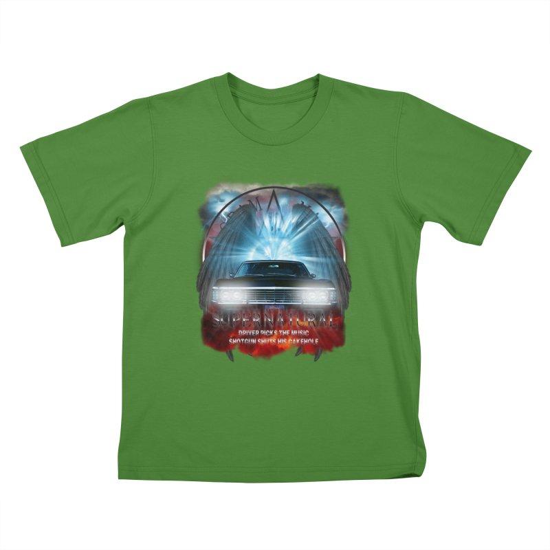 Supernatural Driver picks the music shotgun shuts his cakehole Darkness 2 Kids T-Shirt by ratherkool's Artist Shop