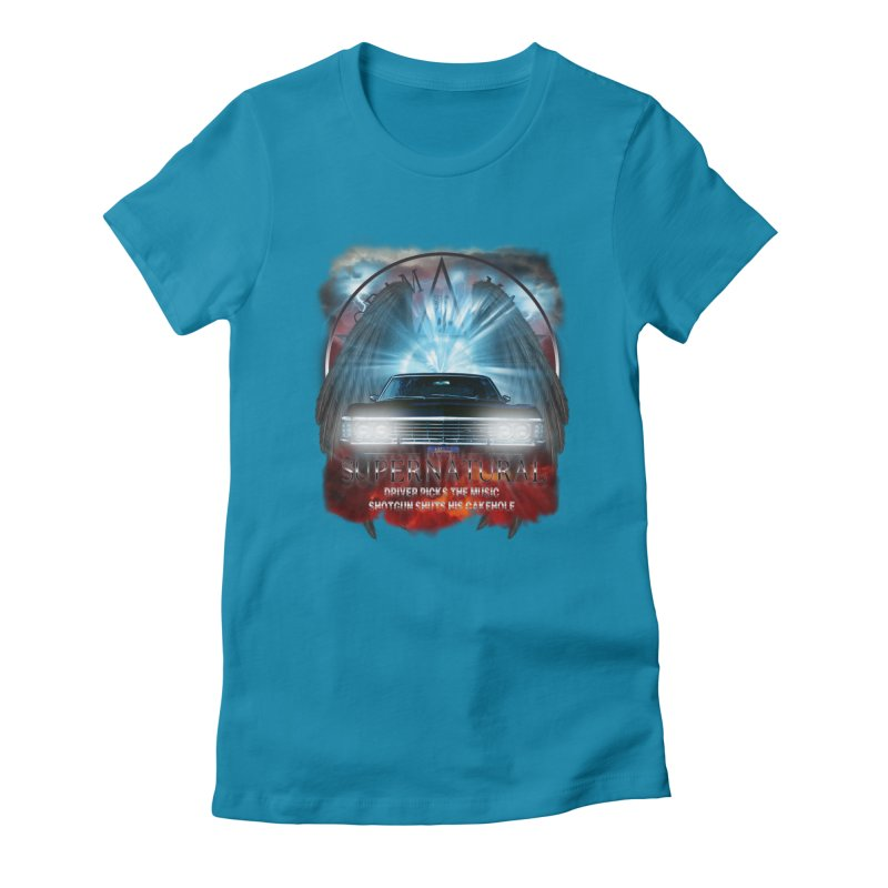 Supernatural Driver picks the music shotgun shuts his cakehole Darkness 2 Women's Fitted T-Shirt by ratherkool's Artist Shop