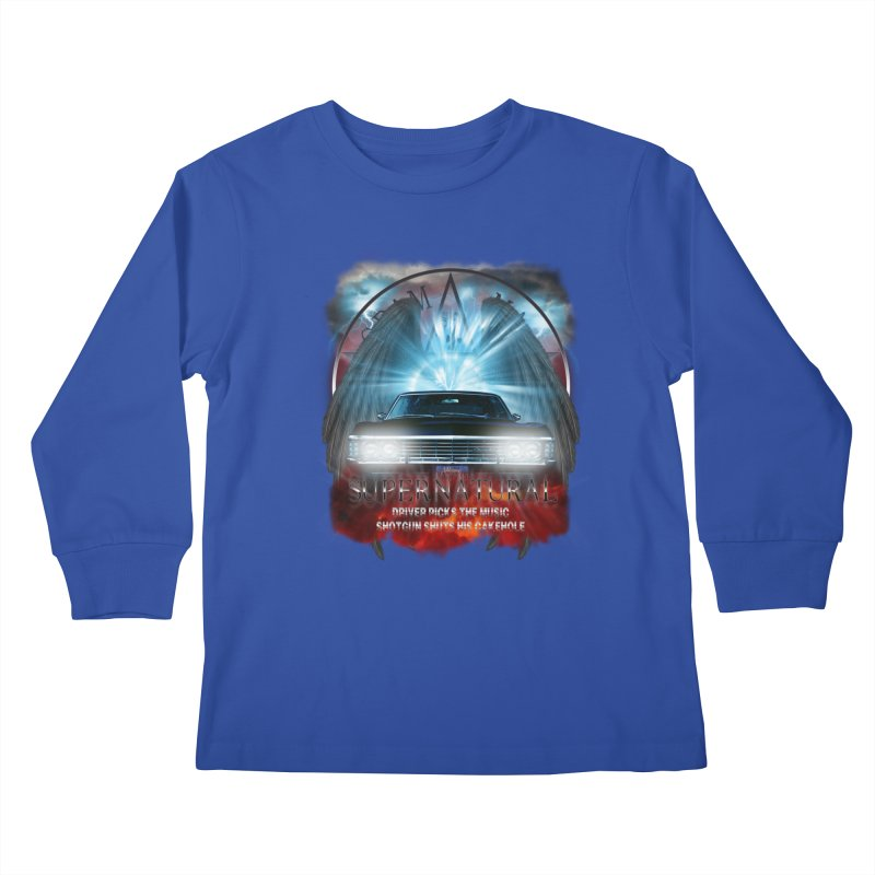 Supernatural Driver picks the music shotgun shuts his cakehole Darkness 2 Kids Longsleeve T-Shirt by ratherkool's Artist Shop