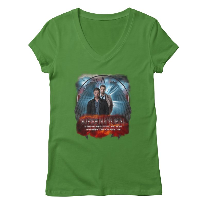 Supernatural I'm the one who gripped you tight and raised you from Perdition 2 Women's V-Neck by ratherkool's Artist Shop