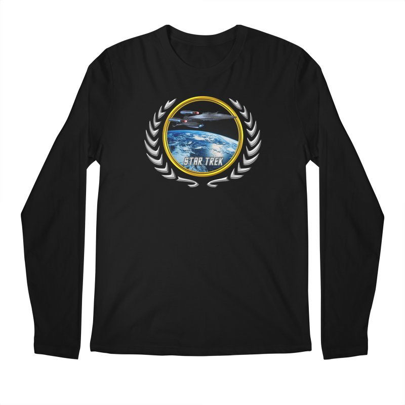 Star trek Federation of Planets Enterprise Galaxy Class Dreadnought Men's Longsleeve T-Shirt by ratherkool's Artist Shop