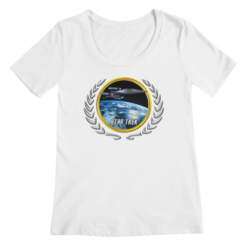 Star trek Federation of Planets Enterprise Galaxy Class Dreadnought Women's Scoopneck by ratherkool's Artist Shop