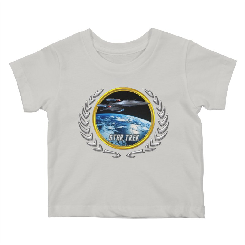 Star trek Federation of Planets Enterprise Galaxy Class Dreadnought Kids Baby T-Shirt by ratherkool's Artist Shop