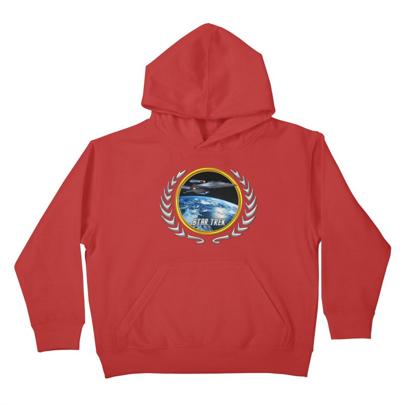 Star trek Federation of Planets Enterprise Galaxy Class Dreadnought Kids Pullover Hoody by ratherkool's Artist Shop