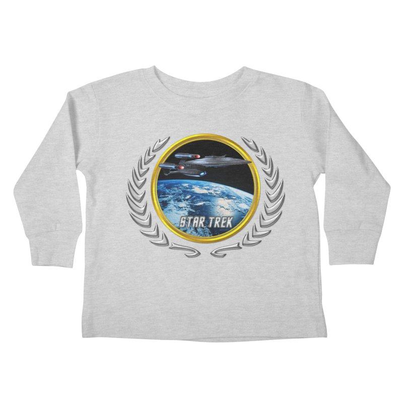 Star trek Federation of Planets Enterprise Galaxy Class Dreadnought Kids Toddler Longsleeve T-Shirt by ratherkool's Artist Shop