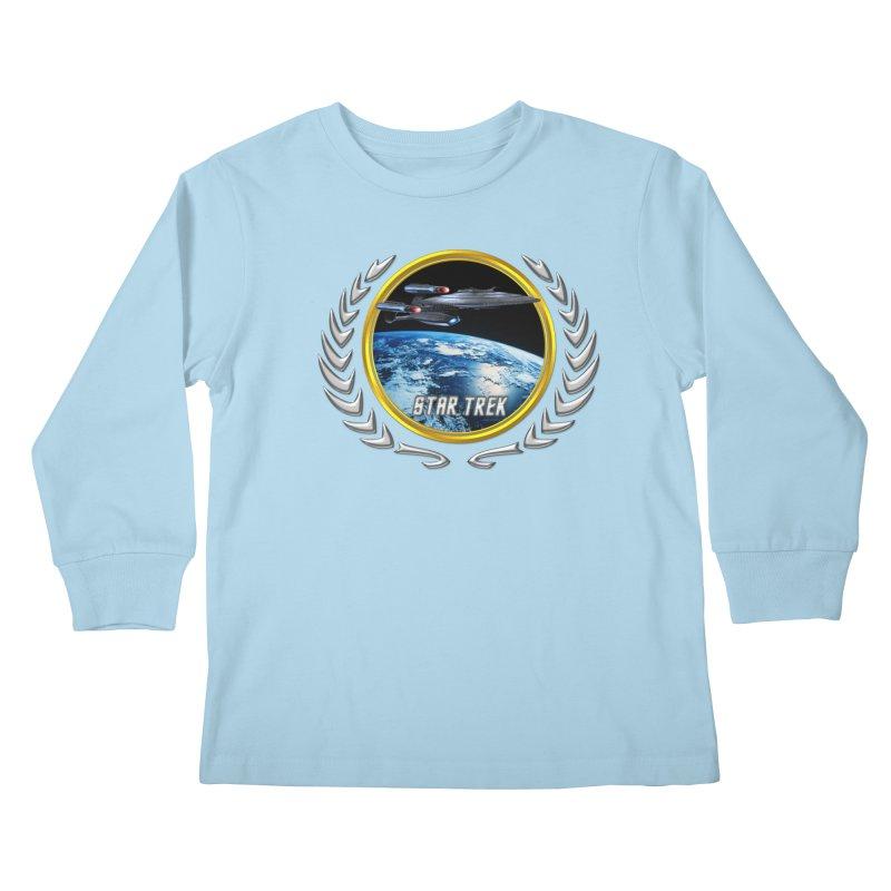 Star trek Federation of Planets Enterprise Galaxy Class Dreadnought Kids Longsleeve T-Shirt by ratherkool's Artist Shop