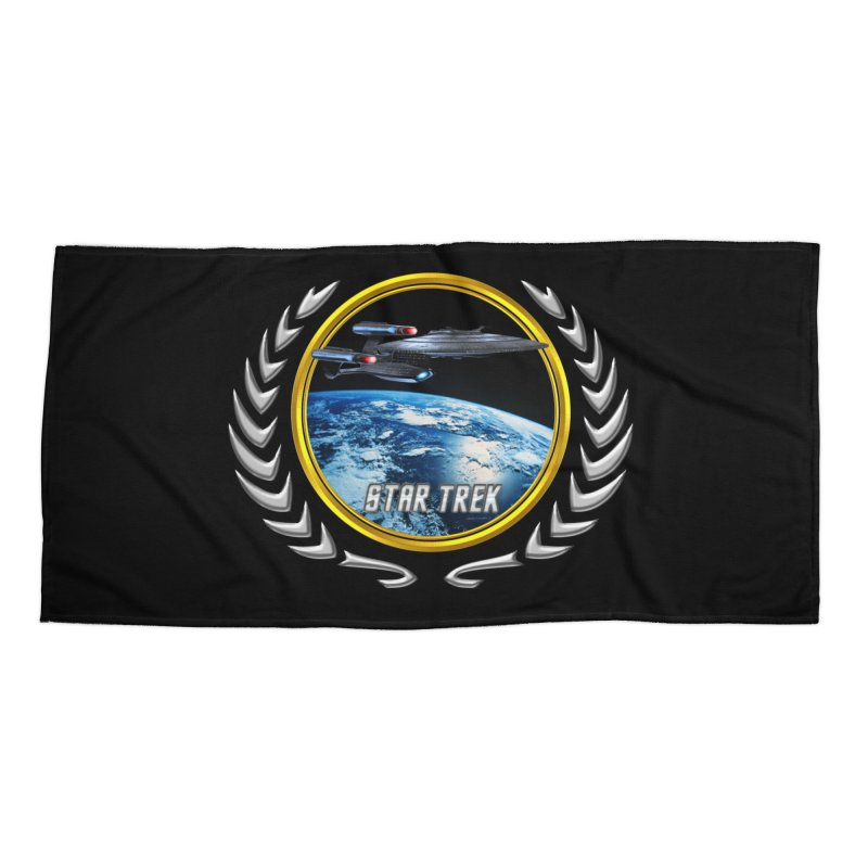 Star trek Federation of Planets Enterprise Galaxy Class Dreadnought Accessories Beach Towel by ratherkool's Artist Shop