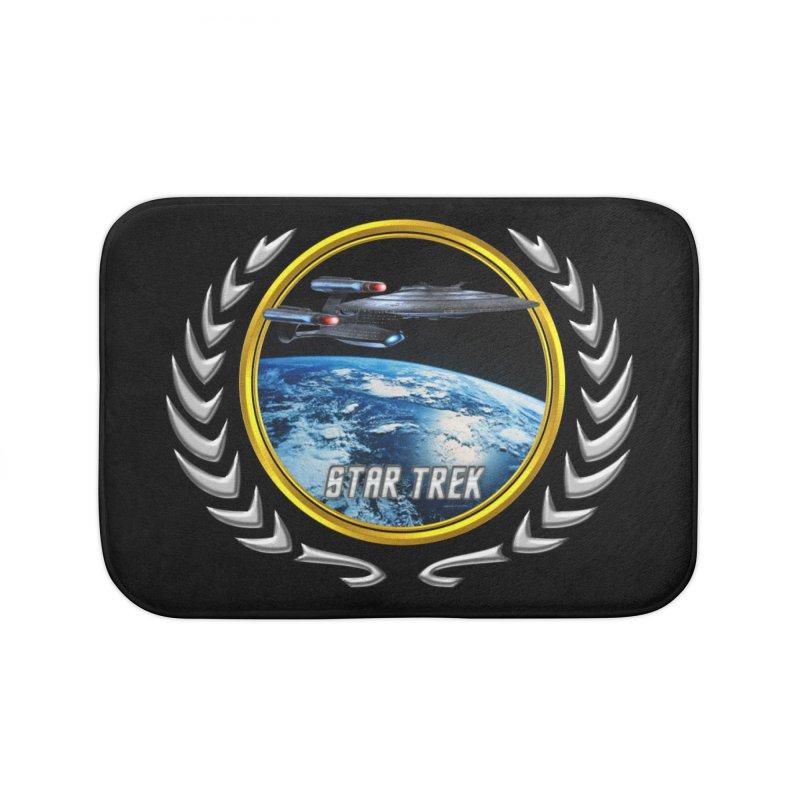 Star trek Federation of Planets Enterprise Galaxy Class Dreadnought Home Bath Mat by ratherkool's Artist Shop