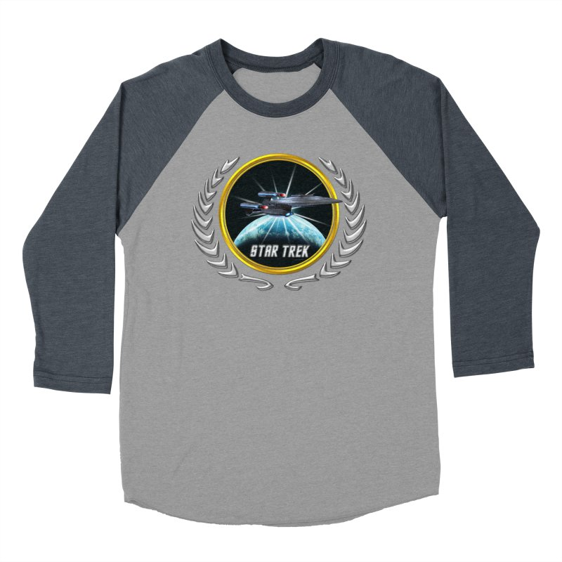 Star trek Federation of Planets Enterprise Galaxy Class Dreadnought 2 Men's Baseball Triblend T-Shirt by ratherkool's Artist Shop