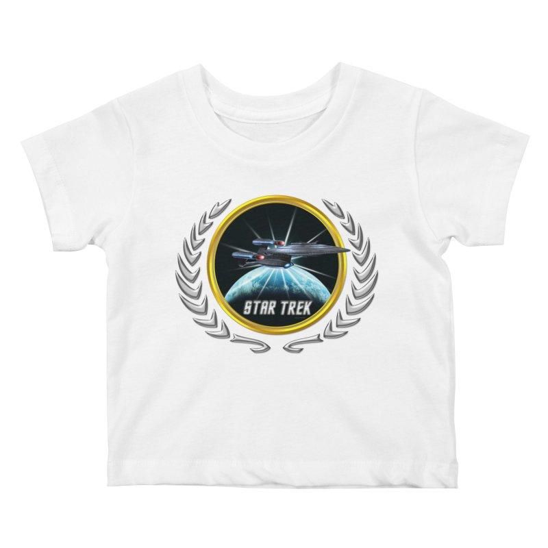 Star trek Federation of Planets Enterprise Galaxy Class Dreadnought 2 Kids Baby T-Shirt by ratherkool's Artist Shop