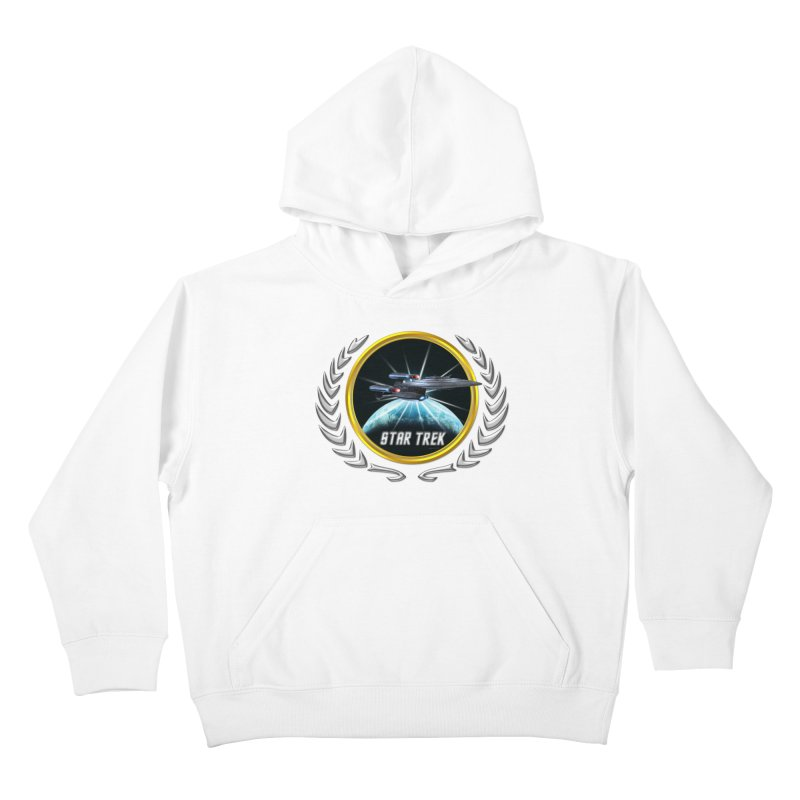 Star trek Federation of Planets Enterprise Galaxy Class Dreadnought 2 Kids Pullover Hoody by ratherkool's Artist Shop