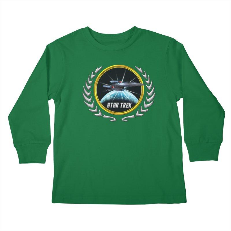 Star trek Federation of Planets Enterprise Galaxy Class Dreadnought 2 Kids Longsleeve T-Shirt by ratherkool's Artist Shop