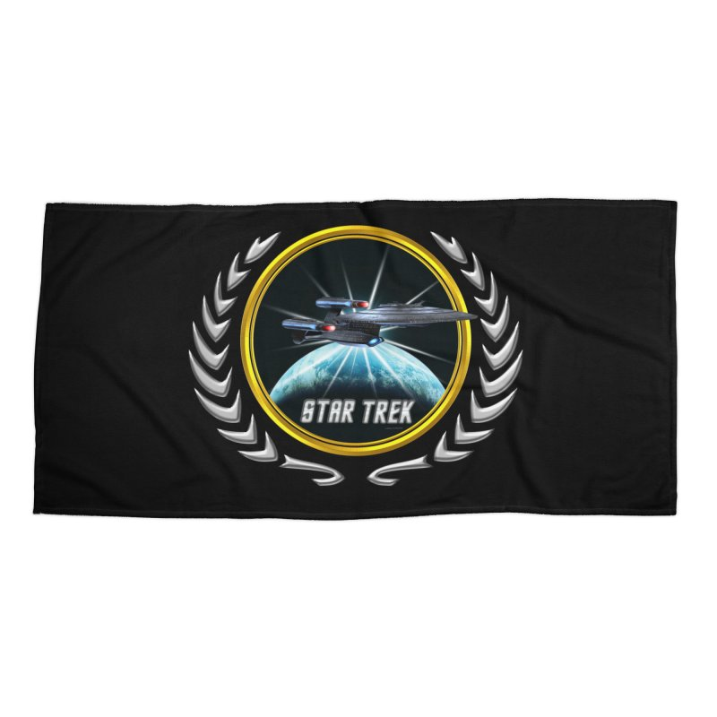Star trek Federation of Planets Enterprise Galaxy Class Dreadnought 2 Accessories Beach Towel by ratherkool's Artist Shop