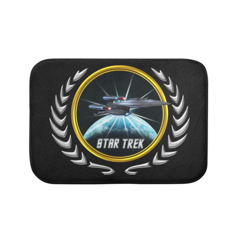 Star trek Federation of Planets Enterprise Galaxy Class Dreadnought 2 Home Bath Mat by ratherkool's Artist Shop