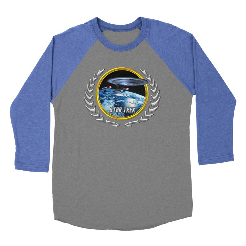 Star trek Federation of Planets Enterprise D Men's Baseball Triblend T-Shirt by ratherkool's Artist Shop