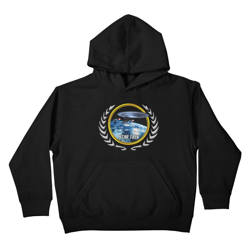 Star trek Federation of Planets Enterprise D Kids Pullover Hoody by ratherkool's Artist Shop