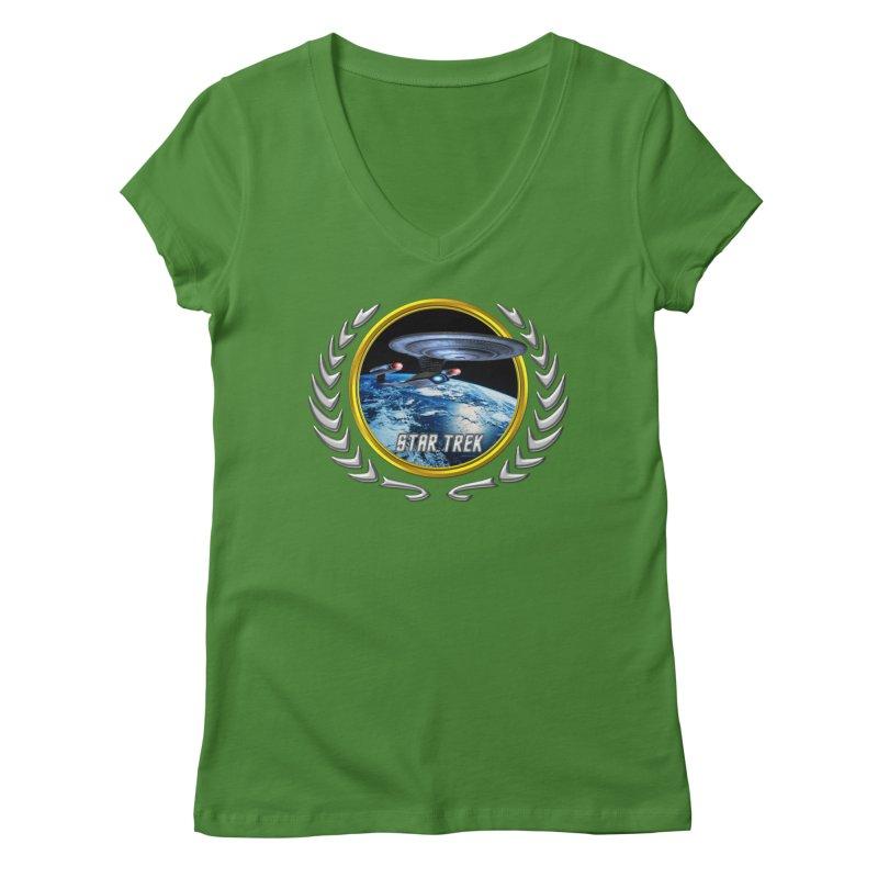 Star trek Federation of Planets Enterprise D Women's V-Neck by ratherkool's Artist Shop