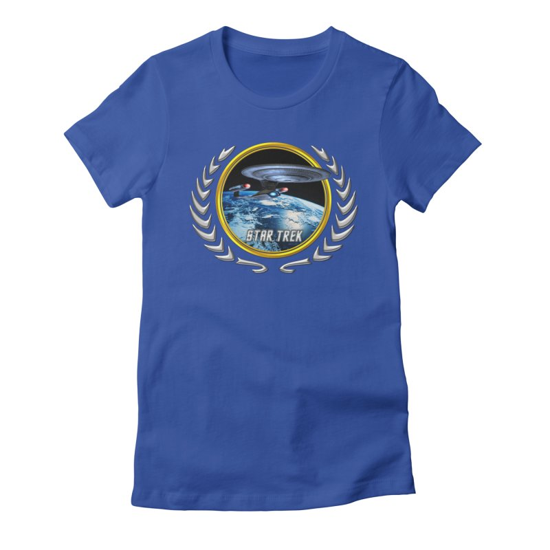 Star trek Federation of Planets Enterprise D Women's Fitted T-Shirt by ratherkool's Artist Shop
