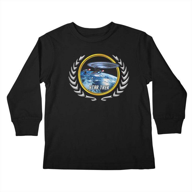 Star trek Federation of Planets Enterprise D Kids Longsleeve T-Shirt by ratherkool's Artist Shop