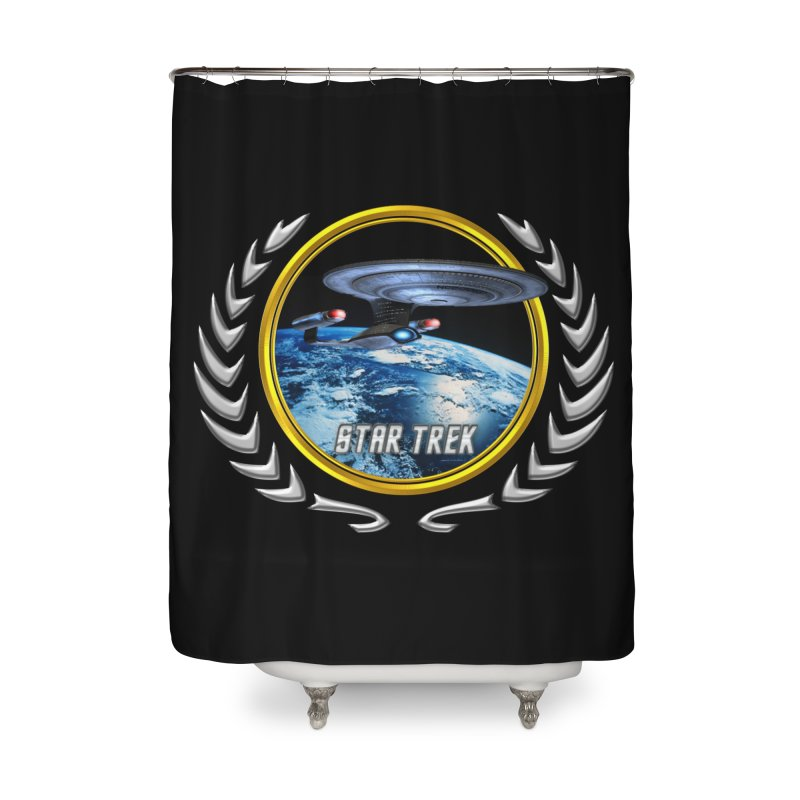 Star trek Federation of Planets Enterprise D Home Shower Curtain by ratherkool's Artist Shop