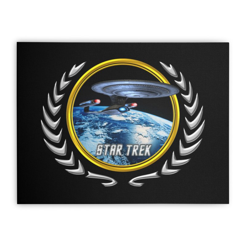 Star trek Federation of Planets Enterprise D Home Stretched Canvas by ratherkool's Artist Shop