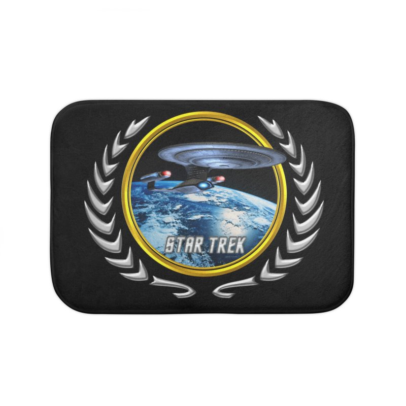 Star trek Federation of Planets Enterprise D Home Bath Mat by ratherkool's Artist Shop