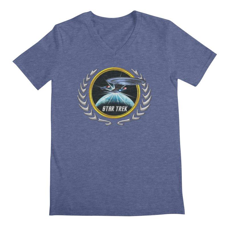 Star trek Federation of Planets Enterprise D 2 Men's V-Neck by ratherkool's Artist Shop